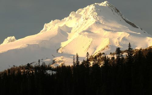 Mount Hood at Sunset from White River Canyon, Oregon